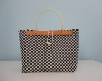 VINTAGE black and white checkered HANDBAG