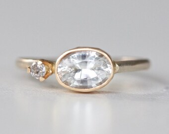 Oval White Sapphire and Diamond Ring - Gold Sapphire Ring - Oval White Sapphire and Silver Diamond Engagement ring in 14k Gold