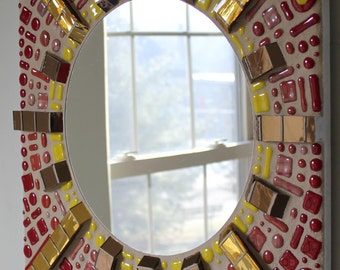 CLEARANCE SALE:  Mosaic, Stained Glass, Fused Glass, Mirror, Sun, Sunburst, Sol, Yellow, Orange, Red