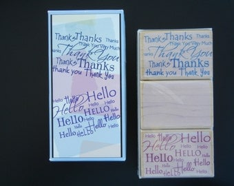SALE Hero Arts Word Patterns Thank You & Hello Woodblock Rubber Stamp Set