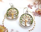 Tree of Life Hand Painted Charm Earrings Tibetan Silver