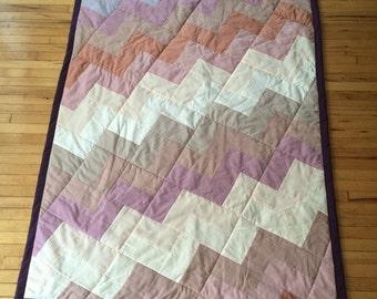Quilt 50 x 71 in Chevron Pink White Brown Purple Floral