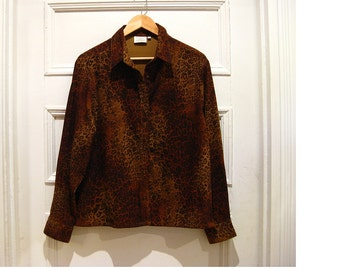 Vintage leopard print blouse - leopard shirt 90s clothing - hipster clothing- retro animal print jacket - womens LARGE PLUS SIZE