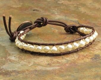 Swarovski Crystal Pearl Leather Bracelet - Baroque Wrap