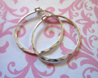 Shop Sale.. 1 pair, Silver Hoops Earrings, Sterling Silver, 1.5 inch, 1 1/2 inch Hammered Hoops, interchangeable ih ihm.h