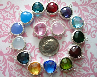 10% Less Valentines Sale.. 2 5 10 20 pcs, Glass Charm Pendant, Jewelry Supplies  u pick colors, Silver or Gold Plated, GP1.mm  LL wf val
