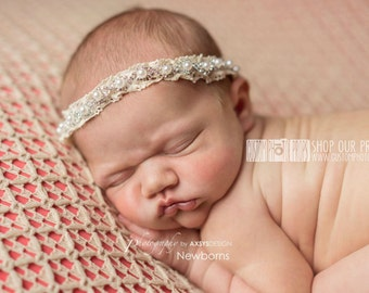 Newborn Princess Headband, Diamonds, Pearls, Lace Newborn Baby Photography Props, Baby Girl, Newborn Prop, Vintage, Rhinestone, Tie Back