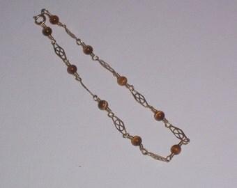 Handmade Wire Wrapped Tiger Eye Bracelet