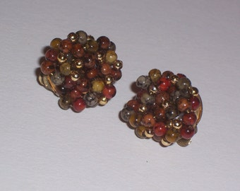 Vintage Brown and Gold Bead Clip On Earrings