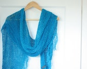 Knitted Shawl Scarf Turquoise Blue Long