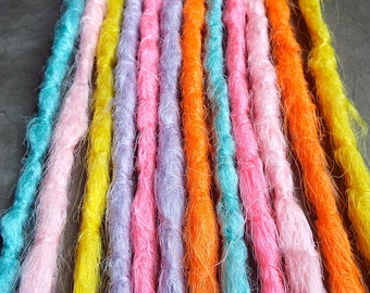 10 Custom Crocheted Synthetic Dreadlock *Clip-in or Braid-in Extensions Boho Dreads Hair Wraps & Beads