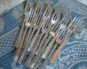 11 Vintage Antique French Silver Plated Cake Forks / Art Deco Design Handles / 1920's Paris Apartment Chic Dining / Country French Living