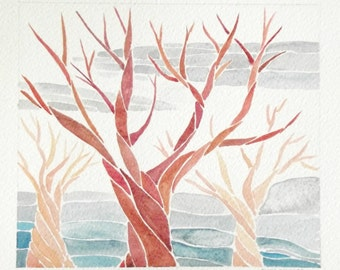 autumn fall landscape with trees modern watercolor painting wall decor