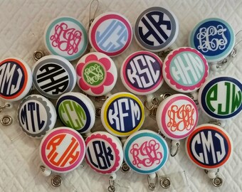 Treat yourself to a Monogrammed Badge Reel ID Holder Badge Pull -- Teachers, Nurses, Students, Lawyers, Business