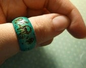 Blue Jellyfish Wooden Ring, size 9