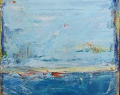Abstract Landscape, Blue Painting, Original Art, 30 x 30 inches