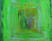 Green Art Original Abstract Modern Painting 24 x 24 inches