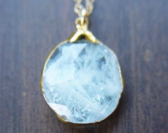 SALE Aquamarine pendant necklace, OOAK, 14k Gold Fill