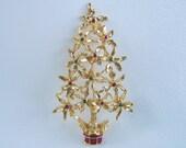 Vintage Rhinestone Poinsettia Christmas Tree Brooch Holiday Pin