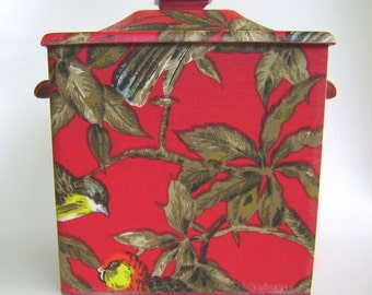 Vintage Red Botanical Bird Icebucket Barware
