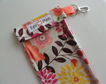 Epi Pen Case Clear Pocket with Metal Clip 3 Sizes Holds up to 2 Allergy Auto Injector Pens and Meds - Floral in Coral Fabric
