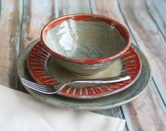 Rustic Dinnerware Place Setting Handmade Ceramic Stoneware Pottery Dinner Plate, Side Plate and Bowl Made in USA Ready to ship