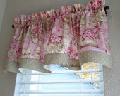 Reserved for Christy Shabby Pink and Green Rose Teapot Kitchen Tier Curtain Valance Little Curtain