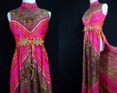 1960s Psychedelic Rainbow Maxi Dress Paisley Tribal Hot Pink Slit 60s Festival Medium