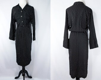 SALE 1970s Does 1940s Style Dress Black and White Secretary Polka Dot Day Dress Button