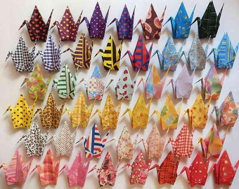 "45 Large Origami Cranes Origami Paper Cranes - Made of 15cm 6"" Japanese Chiyogami Origami Paper - 45 Patterns B"