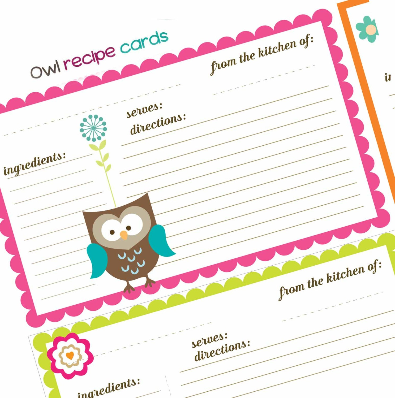 Cute Owl Themed Recipe Cards digital sheet collage sheet