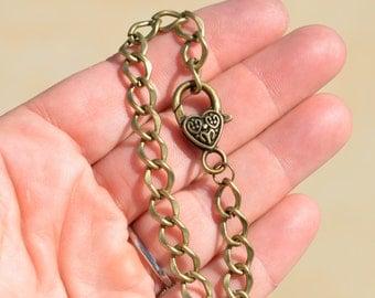 2 Antique Bronze Charm Bracelets C803