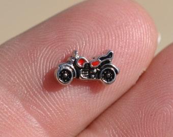 1 Memory Locket Tiny Motorcycle Charm FL294