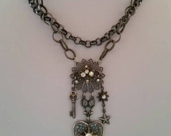Antiqued Gun Metal Double Chain Charm Necklace