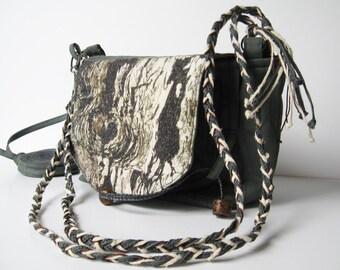 Naturalist Bag, Grey Green Bag, One of a Kind Bag, Nature Inspired Bag, Shoulder Bag, Textile Art, Tree Bark