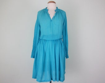70s turquoise cotton gauze indian smocked summer dress (s - m)