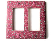 Rocker Switchplate, Double Switch Plate with Pink and Mint Green Repeated Pattern