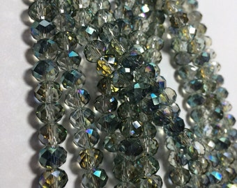 Luscious Crystal Rondelle Beads in Veridian Green AB -