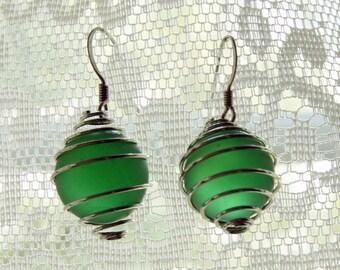 Green Faux Sea Glass  Marble Earrings