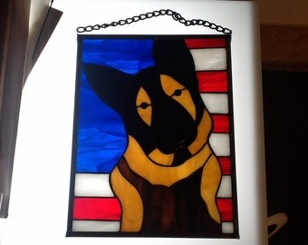 German Shepard with American Flag Stained Glass Panel