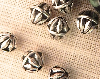 Silver Antiqued Metalized Beads 8mm  - Quantity Savings -