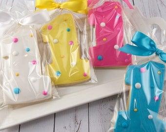 Polka Dot Number One Birthday Cookies - 12 Decorated Sugar Cookie Favors