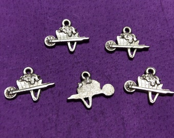 Small Wheelbarrow Pewter Charm