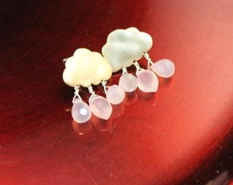 Cute Little Pink Raindrop and Gold Cloud Earrings - Matte Gold Post Clouds with Rose Quartz Briolette Rain Droplets