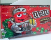 Make Up Bag - Pencil Case - UPCYCLED - Milk Chocolate M&Ms christmas candy wrapper - RECYCLED into - pencil case or make up bag
