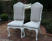 French Cottage White Upholstered Chairs - Dining or side chairs