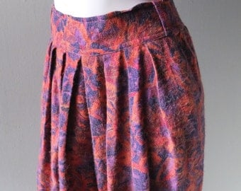 80s French Connection Pleated Harem Pants - Pink & Purple Heathered Flannel - Size L to XL - Unique Hippie Chic