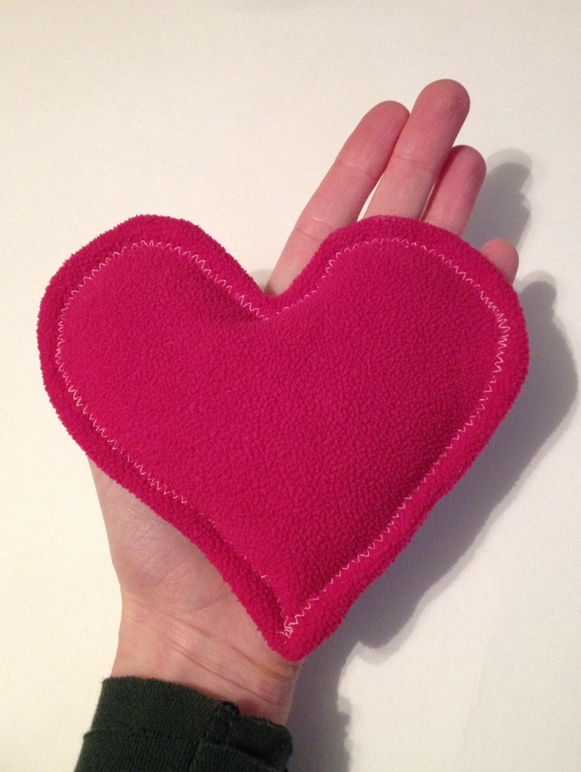 Heart heat pack heart shaped bean bag hand sewn by for Hand shaped bean bags