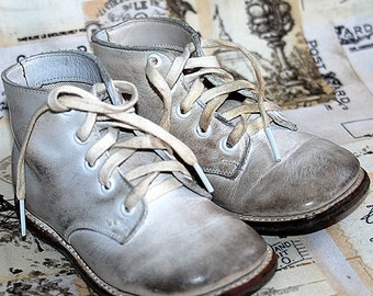 PLAYING HARD...  vintage leather baby Shoes...  homedecorating...photography prop... Nov K