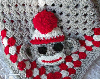 Sock Monkey Blanket, Monkey Baby Blanket, Sock Monkey Baby Shower, Crochet Baby Blanket, Sock Monkey Nursery, Monkey Baby Shower Gift